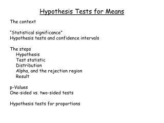 Hypothesis Tests for Means