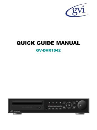 QUICK GUIDE MANUALGV-DVR1042