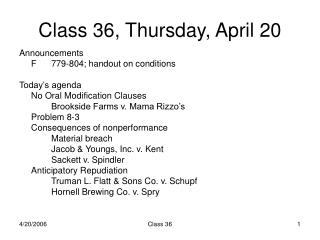 Class 36, Thursday, April 20