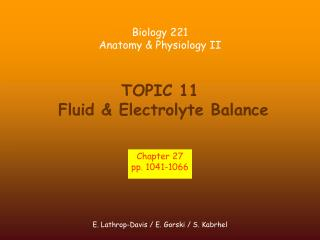 TOPIC 11  Fluid & Electrolyte Balance