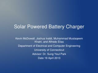 Solar Powered Battery Charger