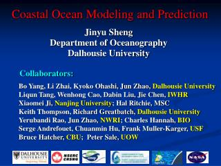 Coastal Ocean Modeling and Prediction