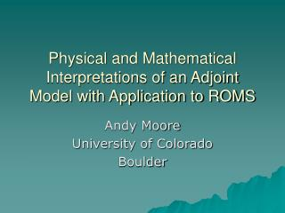 Physical and Mathematical Interpretations of an Adjoint Model with Application to ROMS