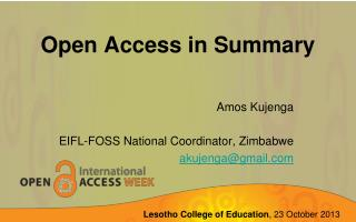 Open Access in Summary