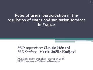 Roles of users' participation in the regulation of water and sanitation services in France