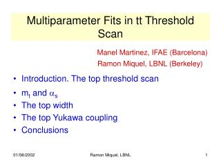 Multiparameter Fits in tt Threshold Scan