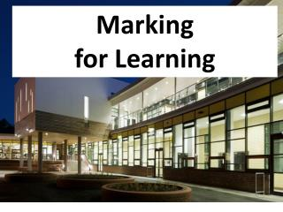Marking  for Learning