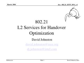 802.21 L2 Services for Handover Optimization