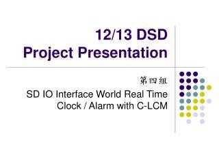 12/13 DSD  Project Presentation
