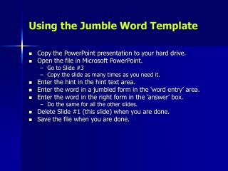 Using the Jumble Word Template