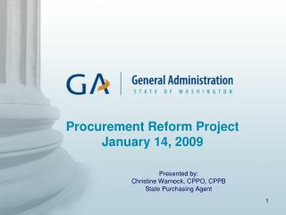 Procurement Reform Project January 14, 2009