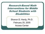 Research-Based Math Interventions for Middle School Students with Disabilities