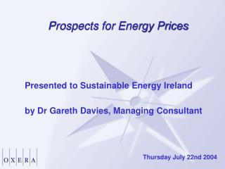 Prospects for Energy Prices