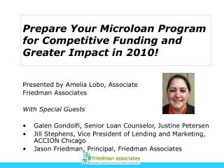 Prepare Your Microloan Program for Competitive Funding and Greater Impact in 2010!