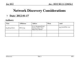 Network Discovery Considerations