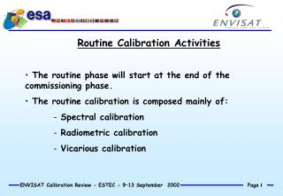 Routine Calibration Activities