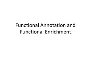 Functional Annotation and Functional Enrichment