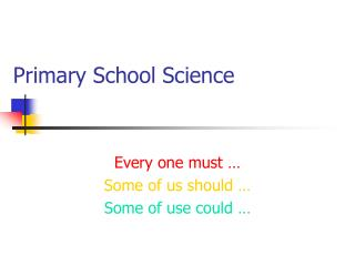 Primary School Science