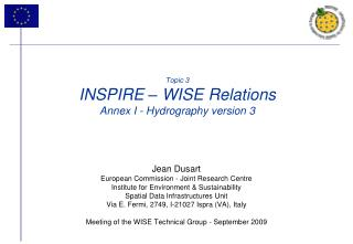 Topic 3 INSPIRE – WISE Relations Annex I - Hydrography version 3