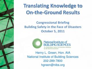 Translating Knowledge  to  On-the-Ground  Results