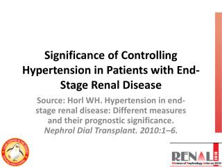 Significance of Controlling Hypertension in Patients with End-Stage Renal Disease
