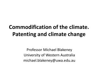 Commodification of the climate. Patenting and climate change