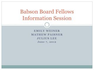 Babson Board Fellows  Information Session
