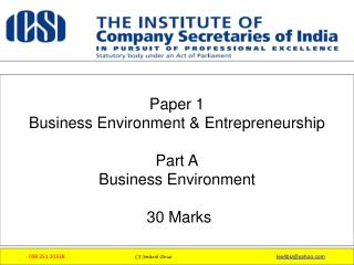 Paper 1  Business Environment & Entrepreneurship Part A Business Environment  30 Marks