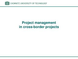 Project management  in cross-border projects