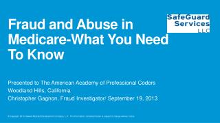 Fraud and Abuse in Medicare-What You Need To Know