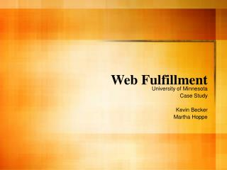 Web Fulfillment