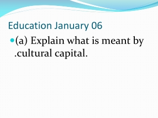 Education January 06