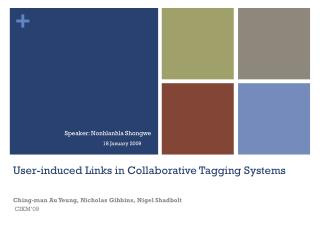 User-induced Links in Collaborative Tagging Systems