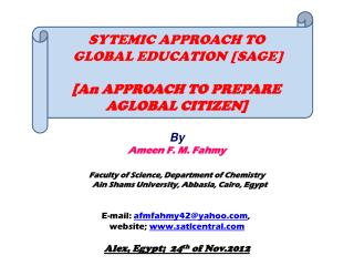 By Ameen F. M. Fahmy Faculty of Science, Department of Chemistry