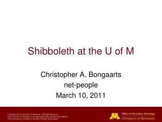 Shibboleth at the U of M