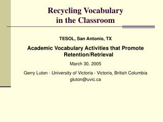 Recycling Vocabulary  in the Classroom
