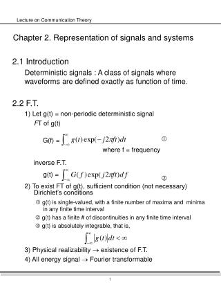 Chapter 2. Representation of signals and systems