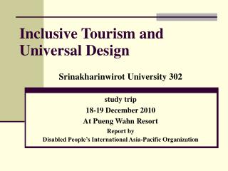 Inclusive Tourism and Universal Design