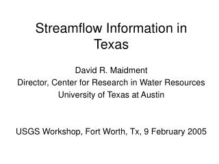 Streamflow Information in Texas
