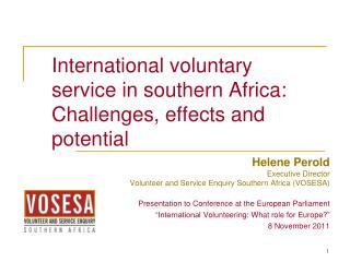 International voluntary service in southern Africa: Challenges, effects and potential