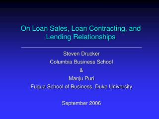 On Loan Sales, Loan Contracting, and Lending Relationships