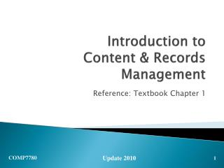 Introduction to Content & Records Management