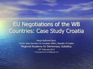 EU Negotiations of the WB Countries: Case Study Croatia