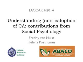 Understanding (non-)adoption of CA: contributions from Social Psychology