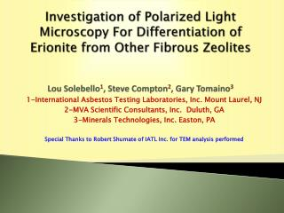 1-International Asbestos Testing Laboratories, Inc. Mount Laurel, NJ