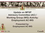 Update on MFSP Advisory Committee AC
