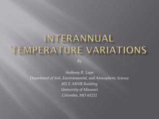 Interannual  Temperature Variations