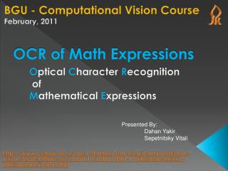 OCR of Math Expressions