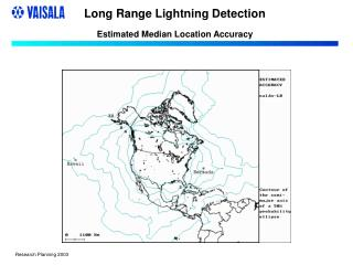 Long Range Lightning Detection Estimated Median Location Accuracy