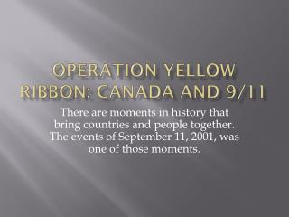 Operation Yellow Ribbon: Canada and 9/11